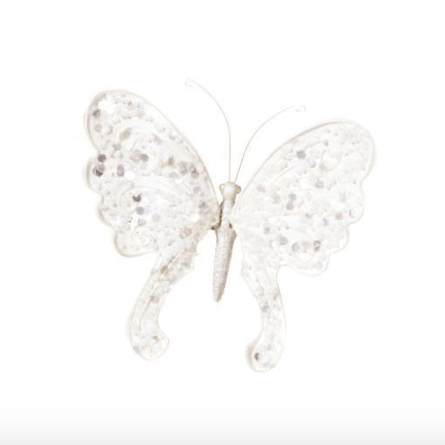 Glittered White Butterfly with Clip