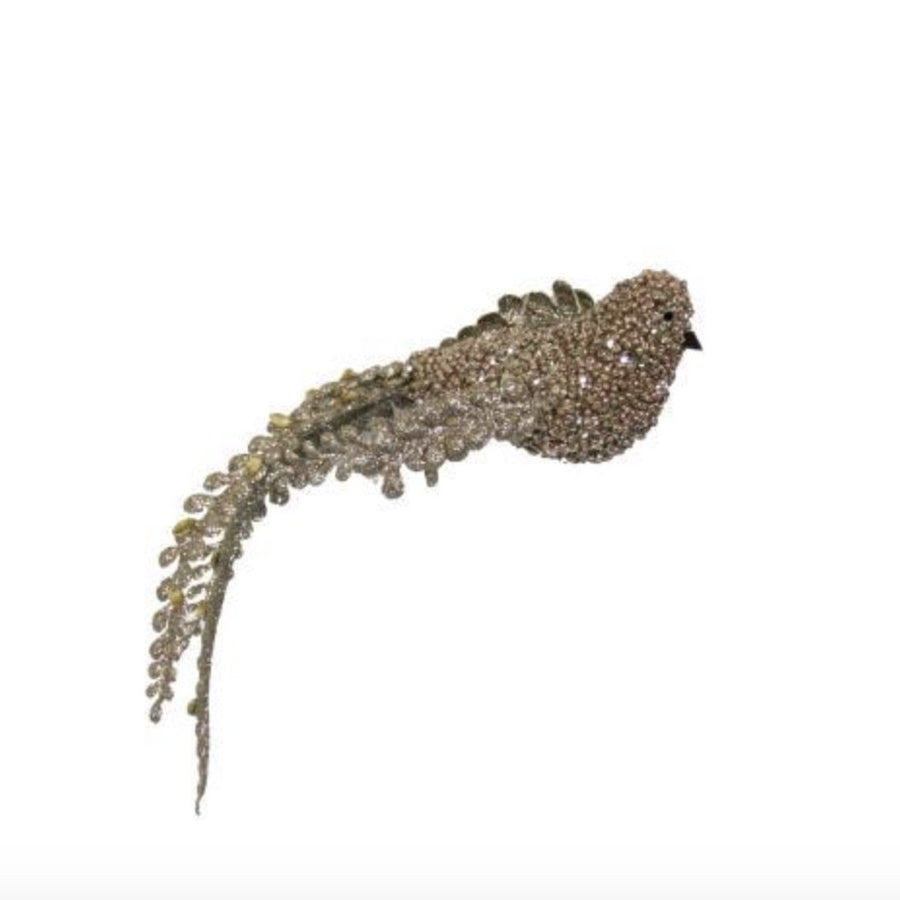 Champagne Beaded Bird Ornament