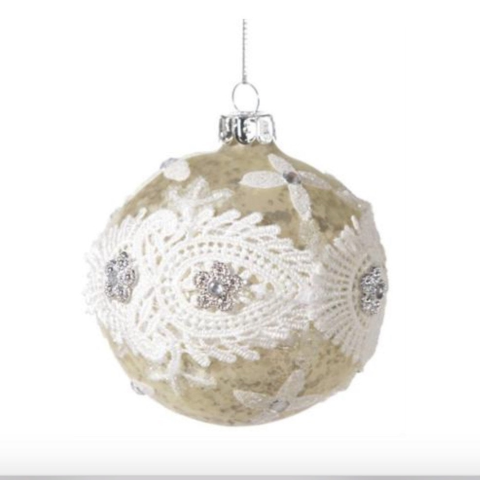 Mottled Gold Lace Ball Ornament