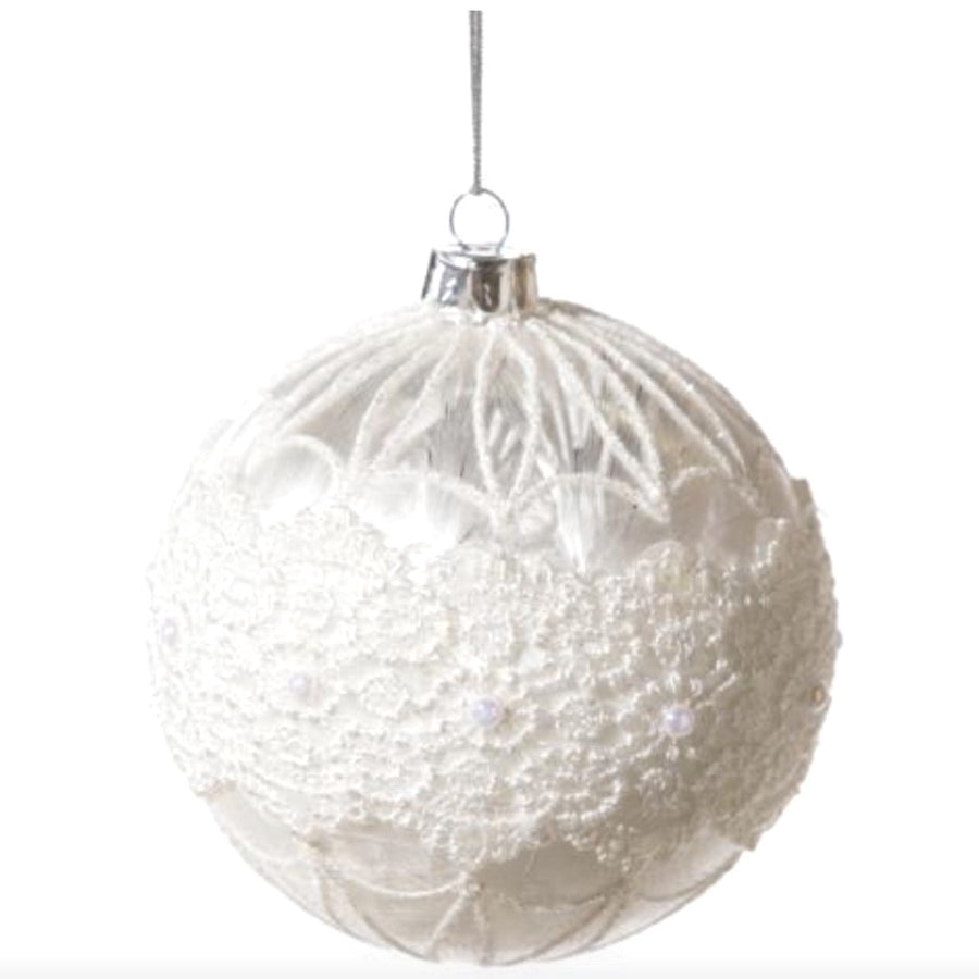 Frosted White Glass Ornament with Lace