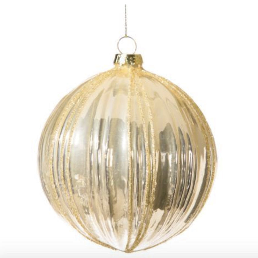 Gold Moulded Ridged Glass Ornament