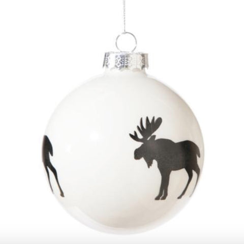 Black and White Glass Ball Ornament - Moose -  Christmas - Floridus Design - Putti Fine Furnishings Toronto Canada