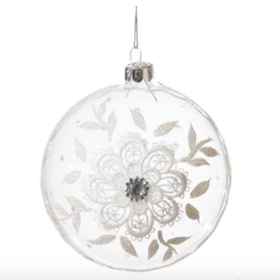 Clear Glass Disk Ornament with Flower Design and Crystals