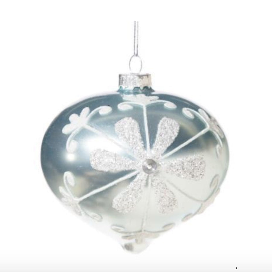Pale Ice Blue with Flower Motif Glass Onion Ornament