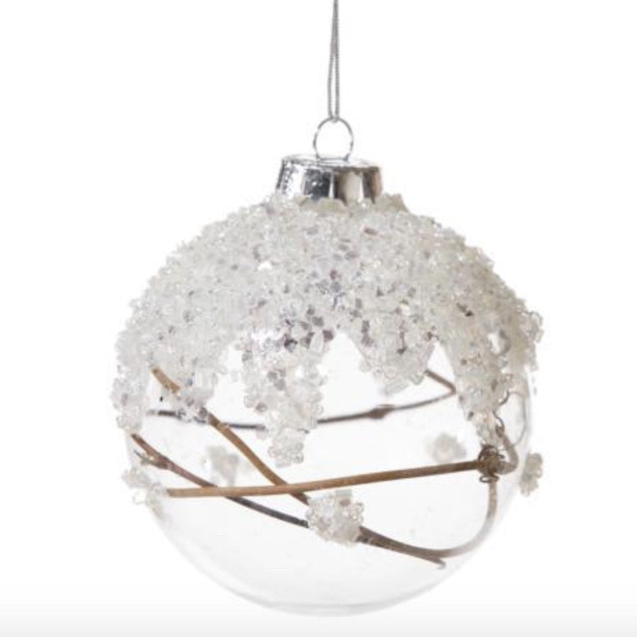 Clear Glass Ball Ornament with Twigs and Snow