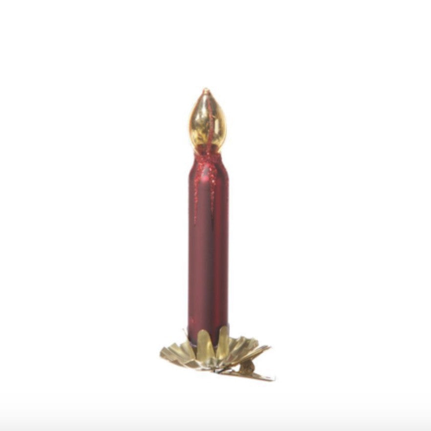 Red and Gold Glass Candle Clip Ornament