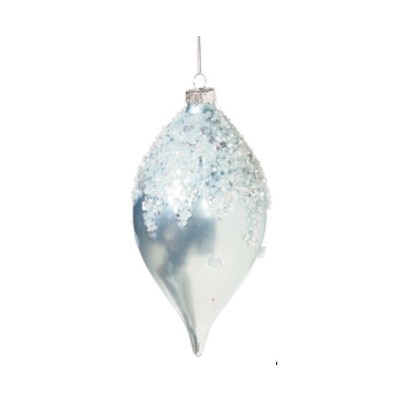 Pale Ice Blue Glass Double Point Ornament Capped with Snow Crystals
