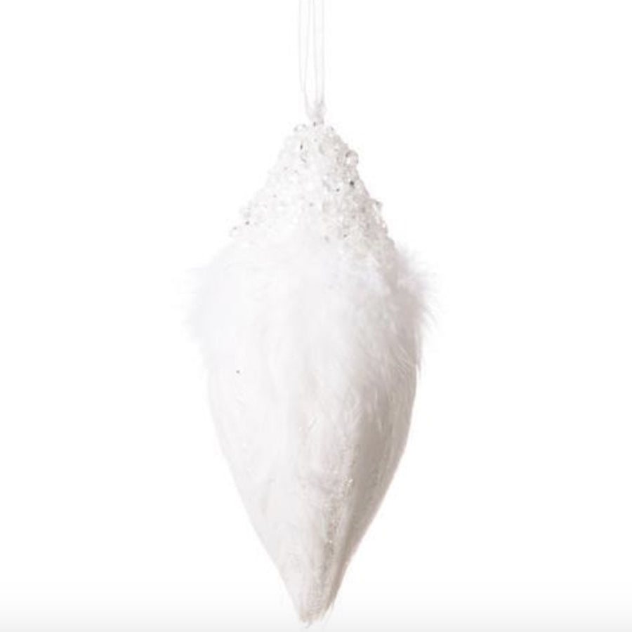 Iced White Feather Double Point Glass Ornament