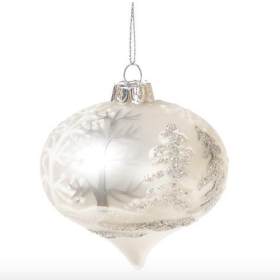 Glass Ornament with White Tree Pattern