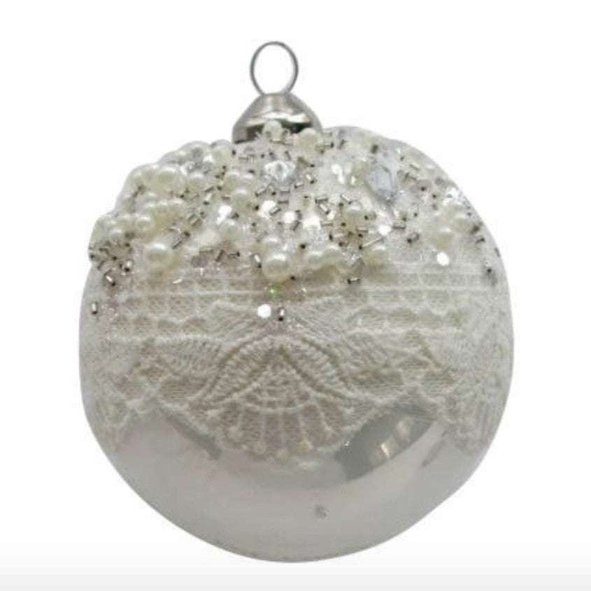 White Glass Ornament with Lace and Pearls