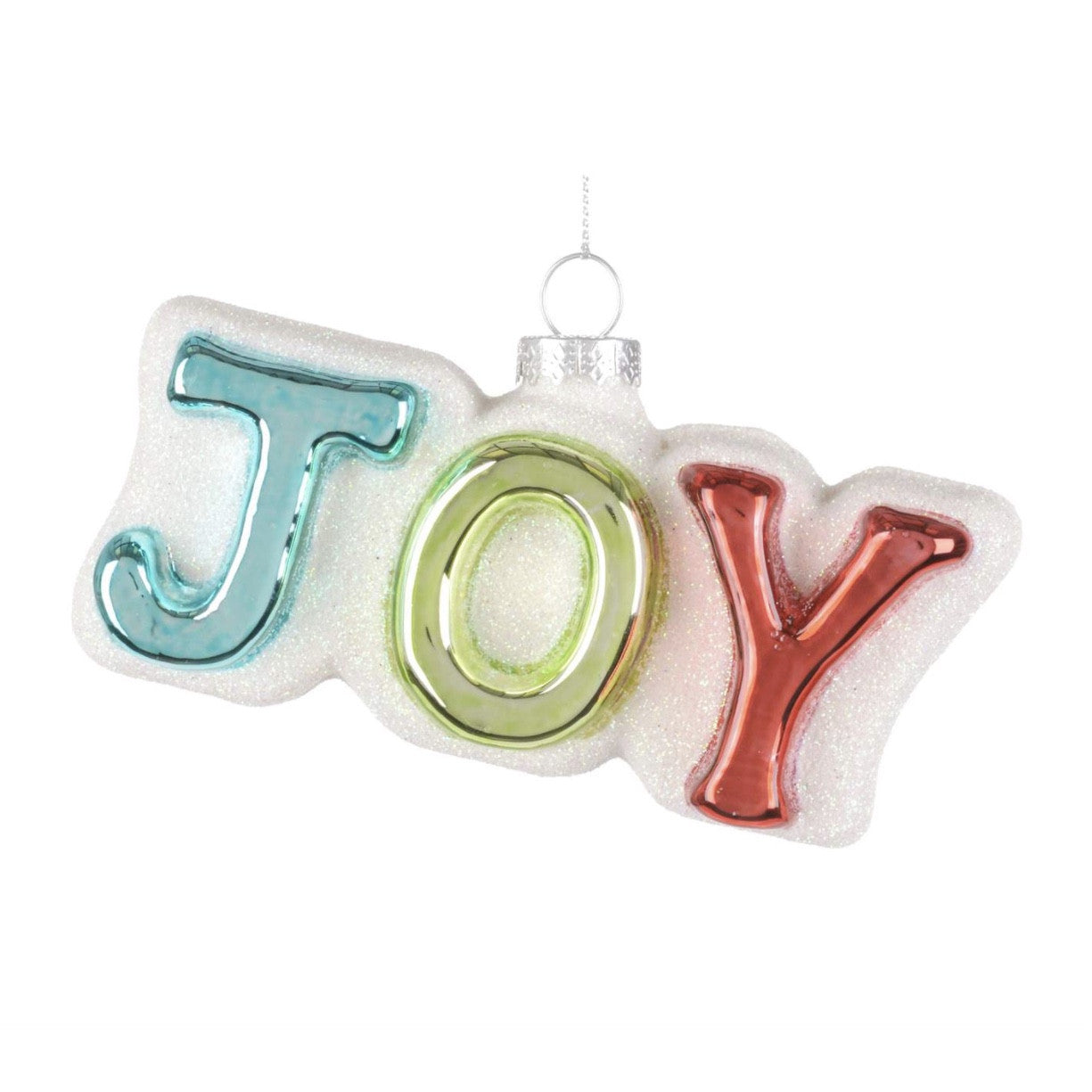 "Retro ""Joy"" Glass Ornament -  Christmas - Christmas Tradition - Putti Fine Furnishings Toronto Canada"