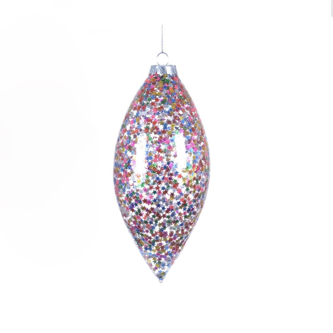 Confetti Stars Glass Drop Ornament -  Christmas - Christmas Tradition - Putti Fine Furnishings Toronto Canada