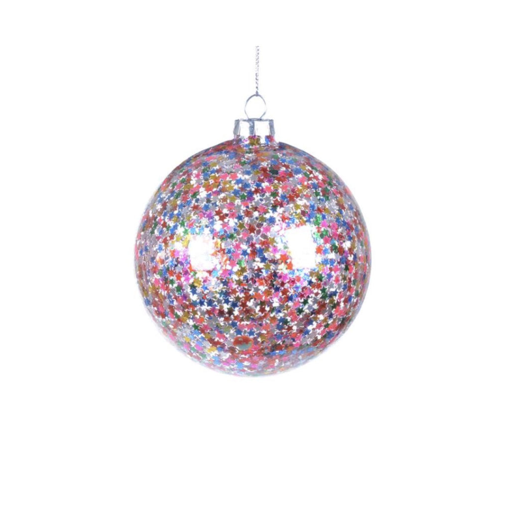 Confetti Stars Glass Ball Ornament -  Christmas - Christmas Tradition - Putti Fine Furnishings Toronto Canada