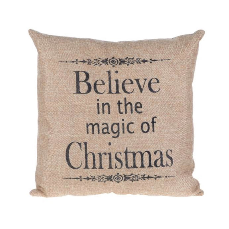 """Believe in the Magic of Christmas"" Pillow -  Christmas Decorations - Christmas Tradition - Putti Fine Furnishings Toronto Canada"