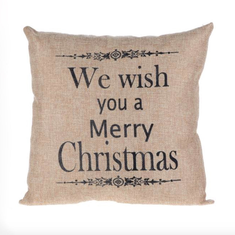 """We wish you a Merry Christmas"" Pillow -  Christmas Decorations - Christmas Tradition - Putti Fine Furnishings Toronto Canada"
