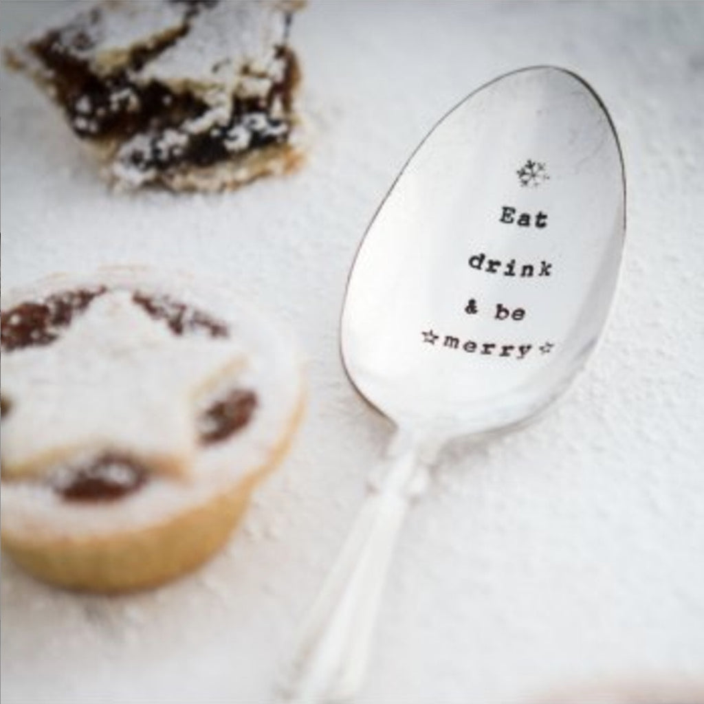 """Eat Drink and be Merry"" Vintage Dessert/Cereal Spoon -  Flatware - La De Da Living - Putti Fine Furnishings Toronto Canada - 1"