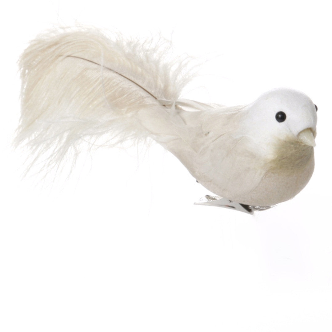 Feather Robin with Clip - Cream -  Christmas - V&L-V & L Associates Inc. - Putti Fine Furnishings Toronto Canada