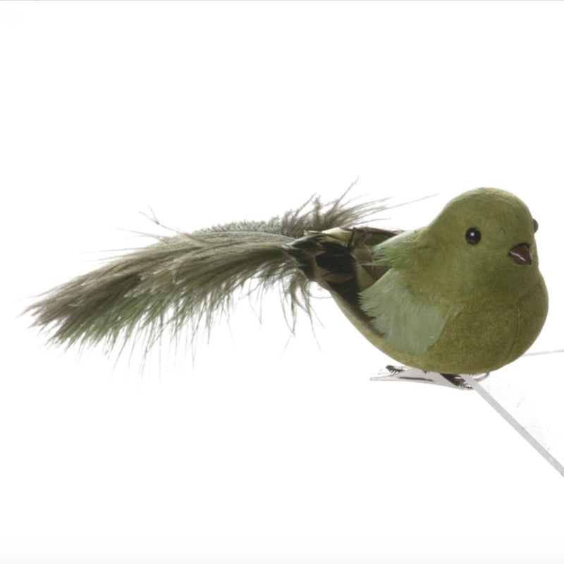 Feather Robin with Clip - Green -  Christmas - V&L-V & L Associates Inc. - Putti Fine Furnishings Toronto Canada