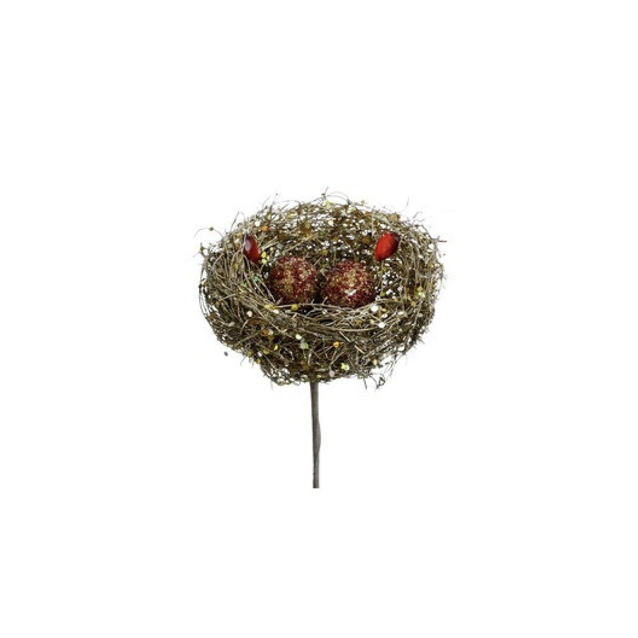Gold Imperial Gem Bird Nest with Red Eggs