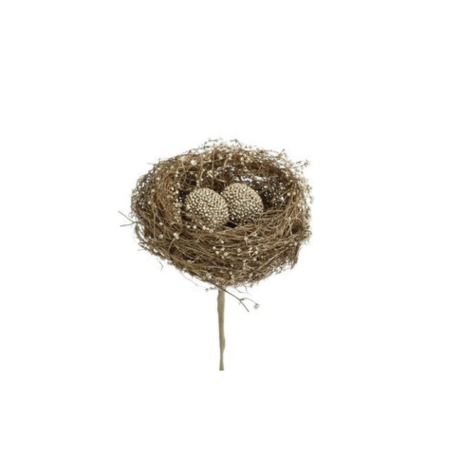 Gold Bird Nest with Beaded Eggs