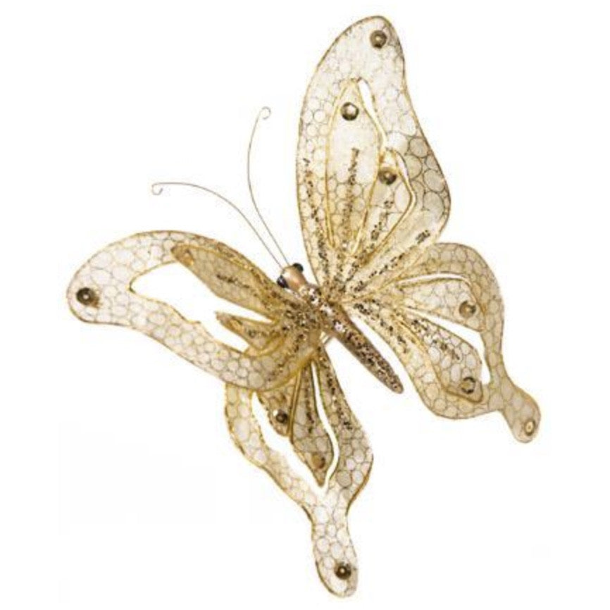 Glittered Cream and Gold Butterfly with Clip