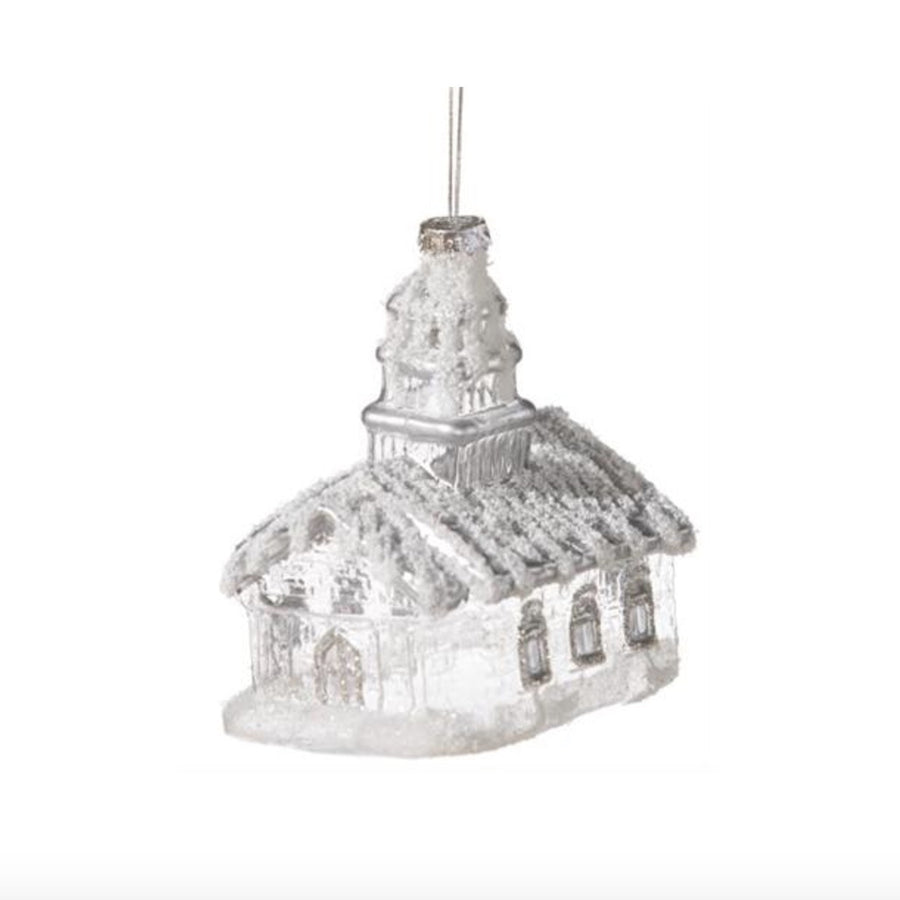 Frosted Glass Church Ornament