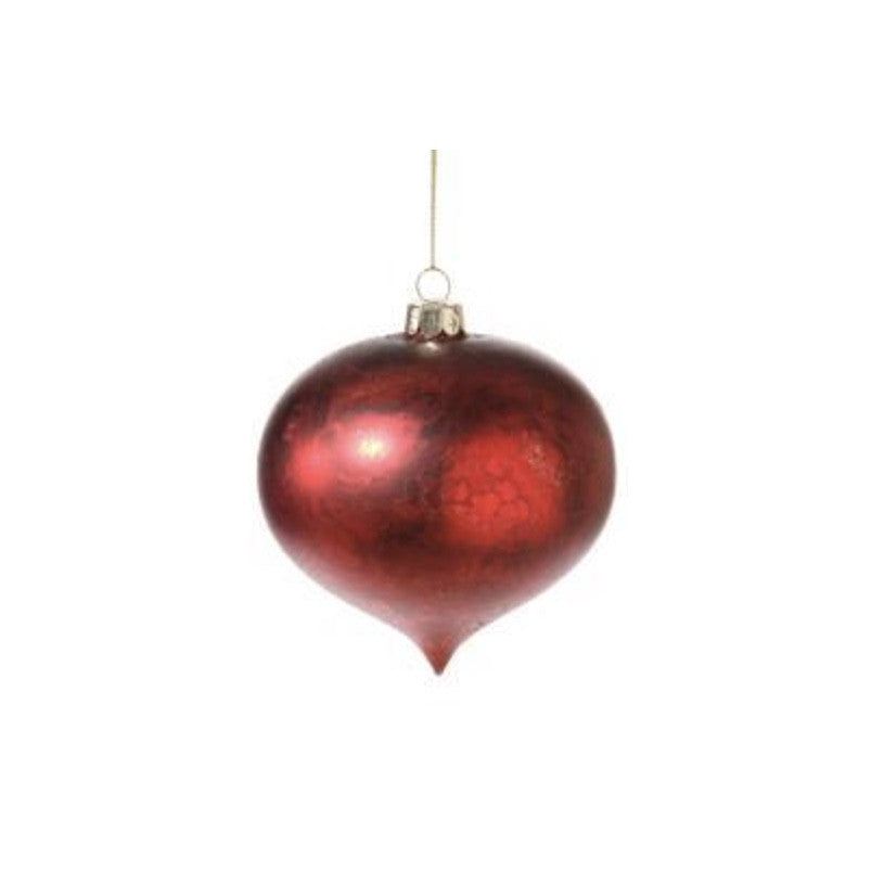 Distressed Red Onion Glass Ornament