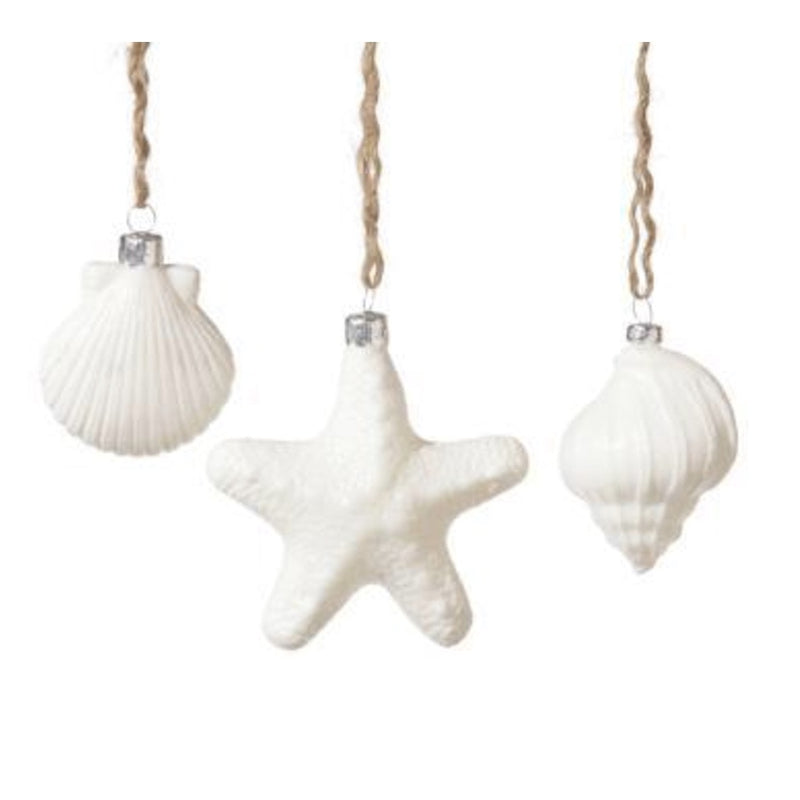 White Glass Seashell Ornaments -  Christmas - Floridus Design - Putti Fine Furnishings Toronto Canada