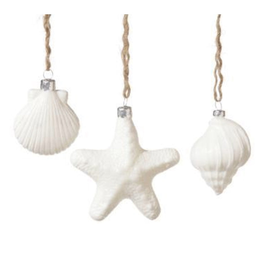 White Glass Seashell Ornaments