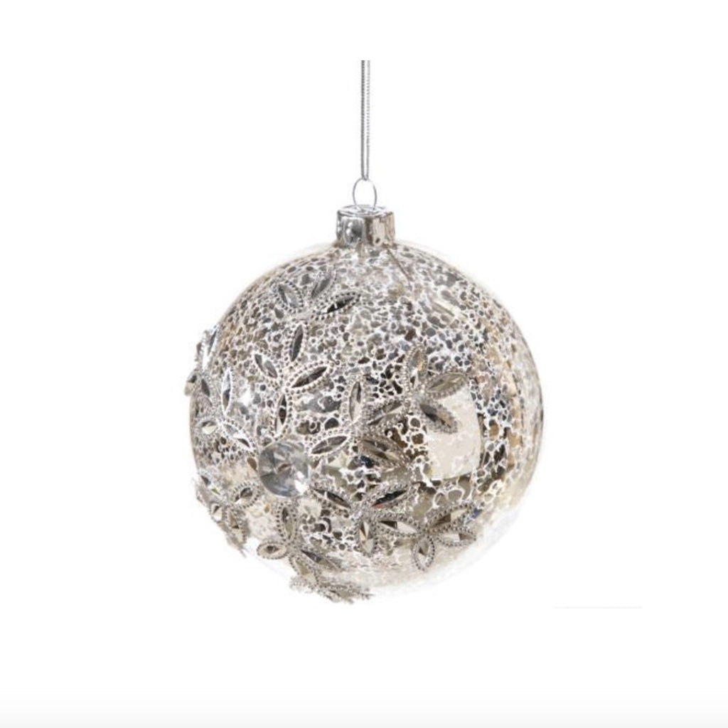 Silver Glass ball with Jewelled Snowflake Ornament -  Christmas - Floridus Design - Putti Fine Furnishings Toronto Canada