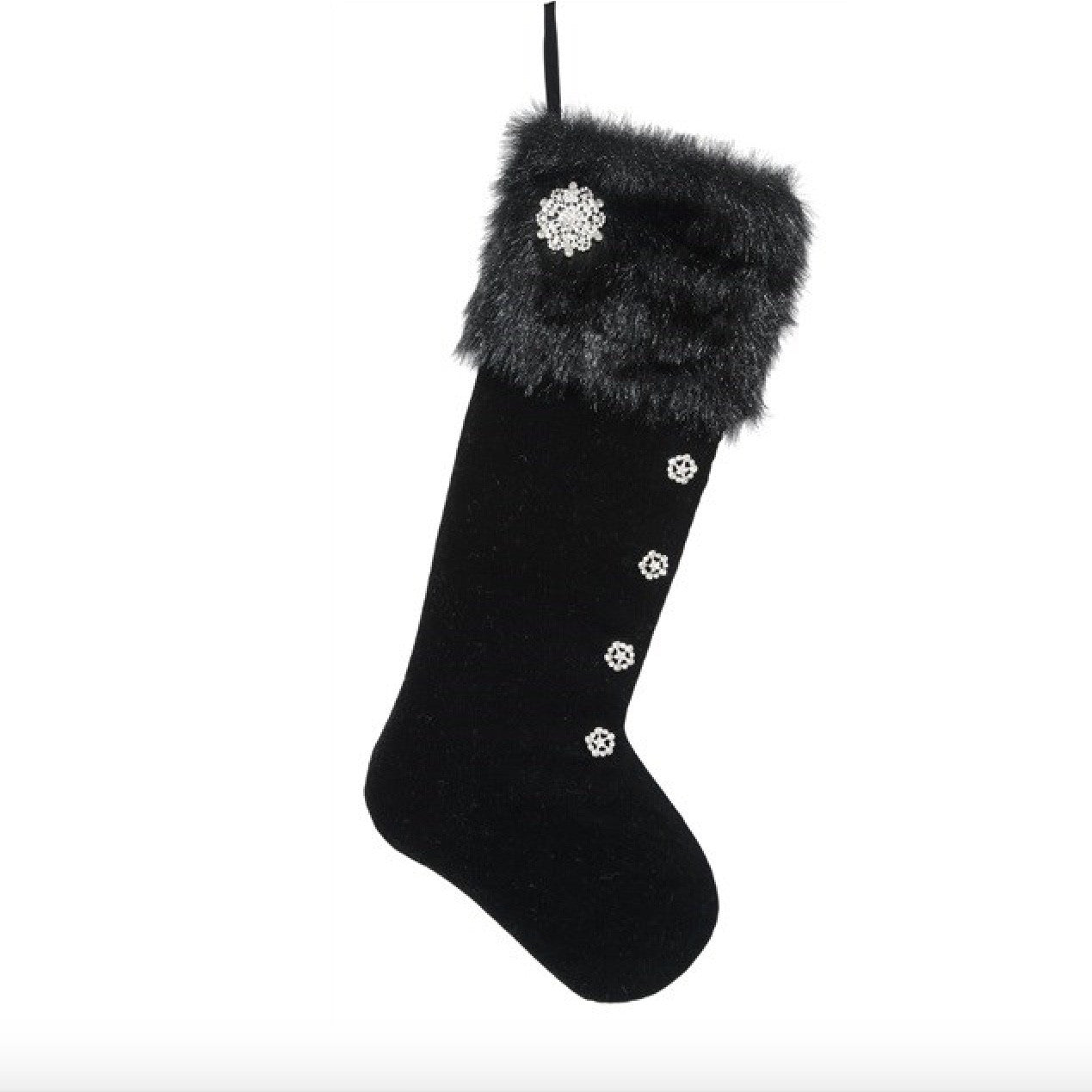 "Black Velvet and Fur ""Curiosity"" Stocking -  Christmas - WC-Winward Canada - Putti Fine Furnishings Toronto Canada"