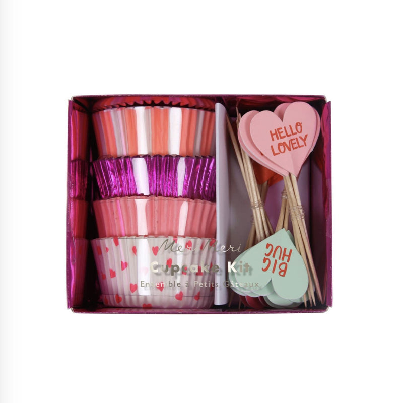 "Meri Meri ""Love Hearts"" Cup Cake Kit -  Party Supplies - Meri Meri UK - Putti Fine Furnishings Toronto Canada"