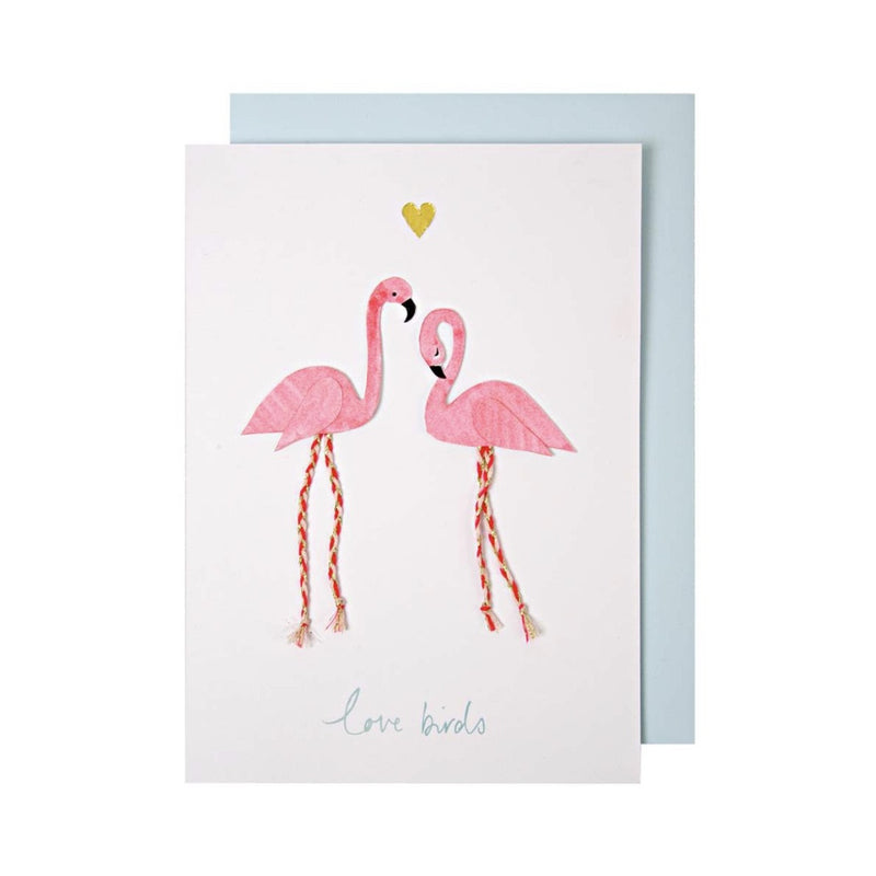 Meri Meri Flamingo Love Birds Greeting Card -  Stationary - Meri Meri UK - Putti Fine Furnishings Toronto Canada