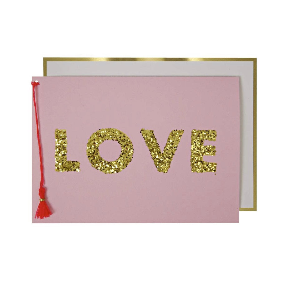 "Gold Glitter ""Love"" Greeting Card"