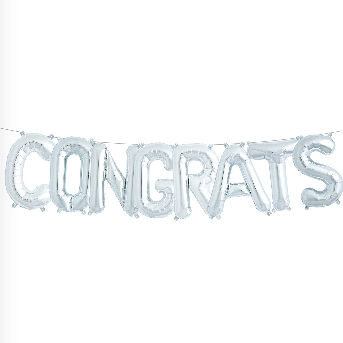 "Silver Foil ""Congrats"" Balloon Banner -  Party Supplies - Northstar Balloons - Putti Fine Furnishings Toronto Canada"