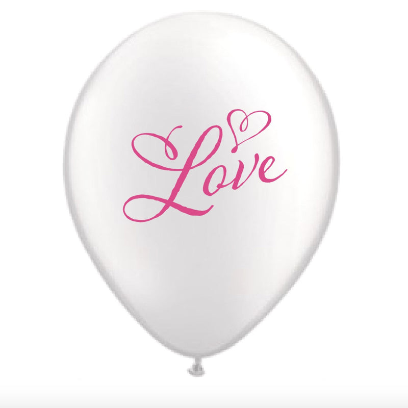 """Pink Love"" Balloon - White -  Party Supplies - Vintage Angel - Putti Fine Furnishings Toronto Canada"