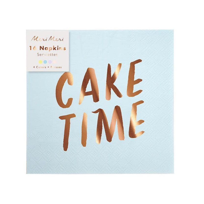Meri Meri Rose Gold Typographic Paper Napkins - Small
