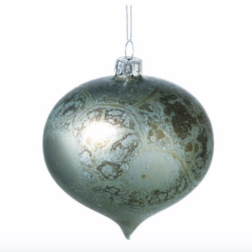Speckled Blue Glass Onion Ornament