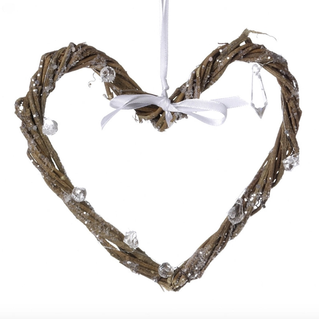 Rattan Heart Ornament with Ice -  Artificial Flowers - V&L-V & L Associates Inc. - Putti Fine Furnishings Toronto Canada