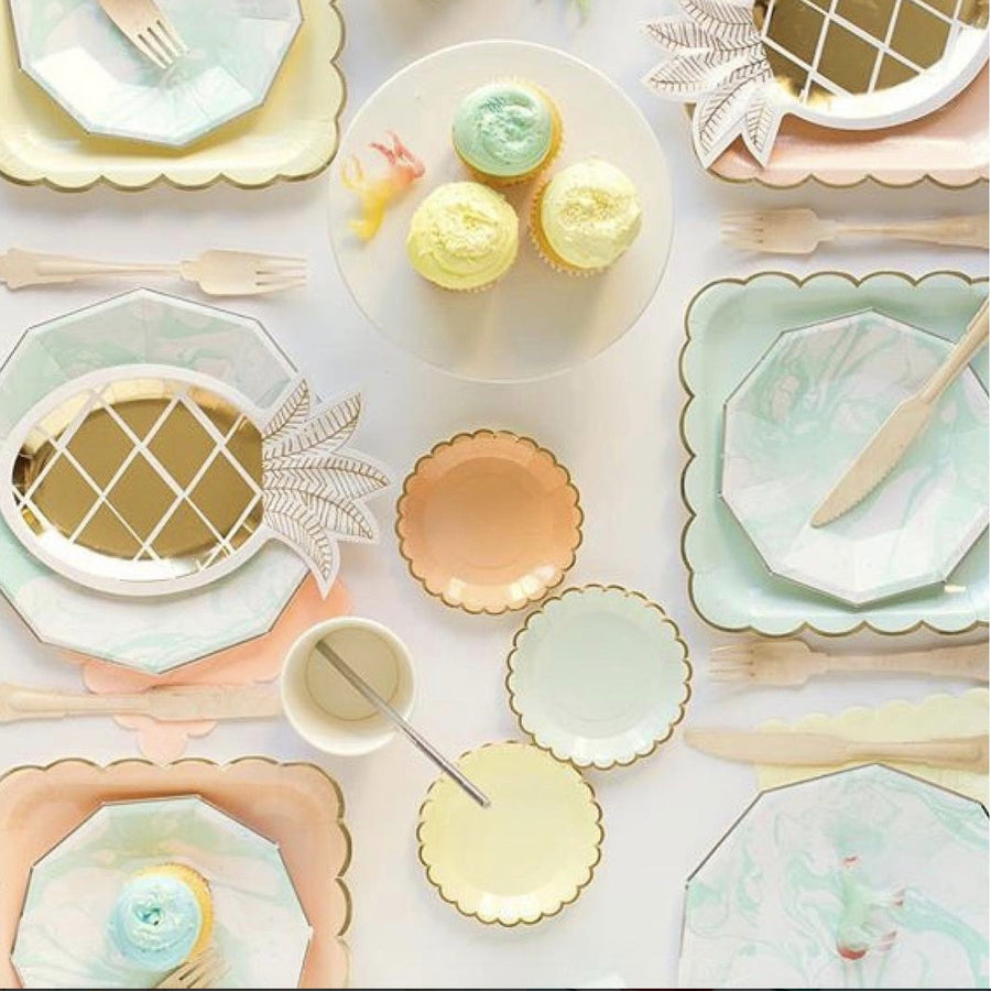 Aqua and White Marble - Small Paper Plates -  Party Supplies - Meri Meri UK - Putti Fine Furnishings Toronto Canada - 1