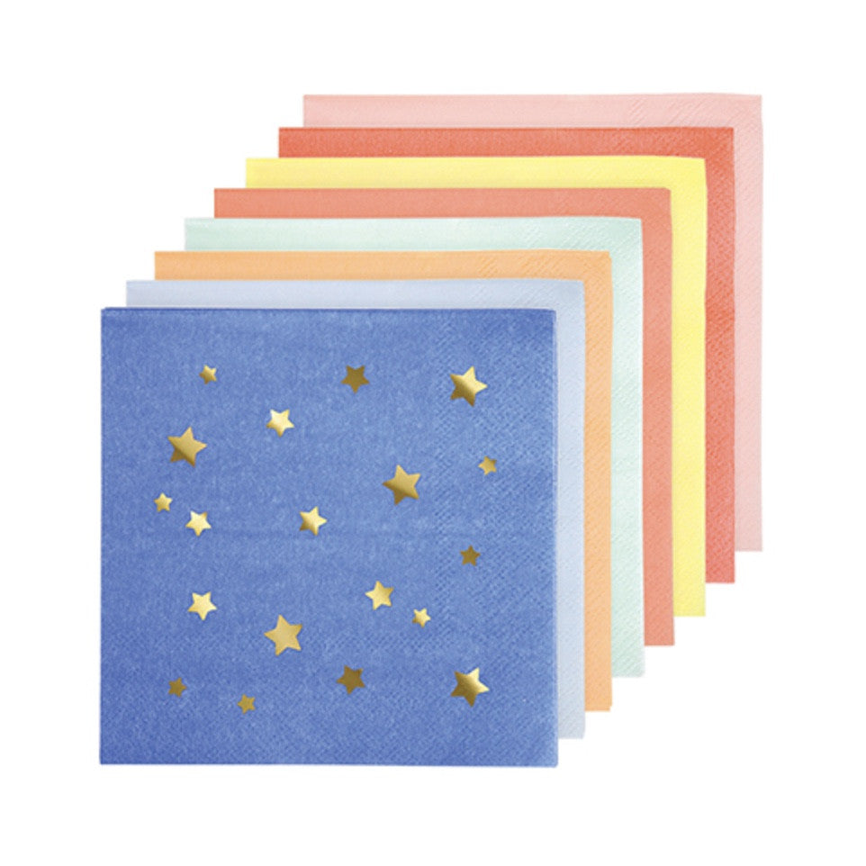 Meri Merri Multicolor Star Paper Napkins - Small -  Party Supplies - Meri Meri UK - Putti Fine Furnishings Toronto Canada - 1