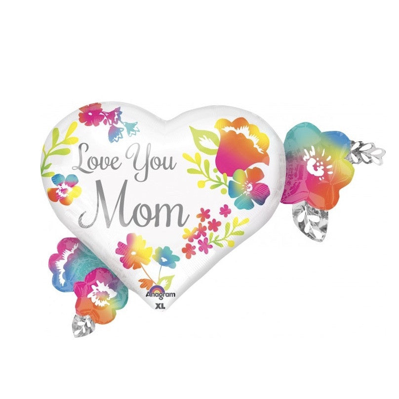 """Love You Mom"" Mylar Heart Balloon"
