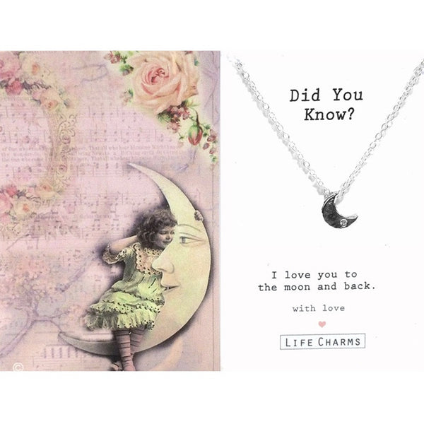 "Life Charms UK ""Did You Know"" Silver Moon Necklace -  Jewelry - Life Charms UK - Putti Fine Furnishings Toronto Canada - 1"