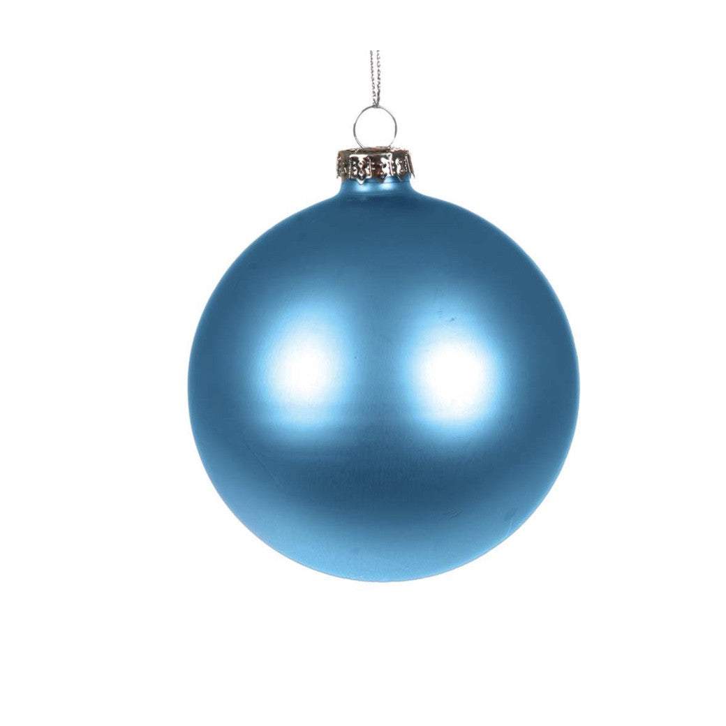 Peacock Blue Matte Satin Glass Ball Christmas Ornament
