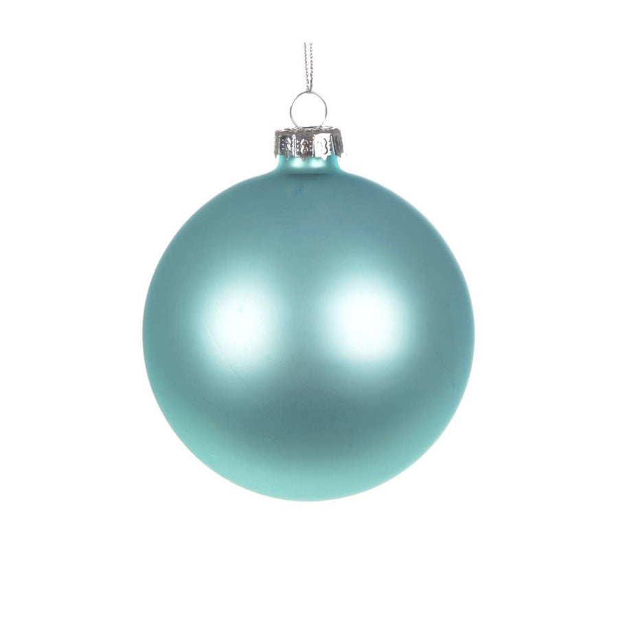 Aqua Blue Matte Satin Glass Ball 8cm