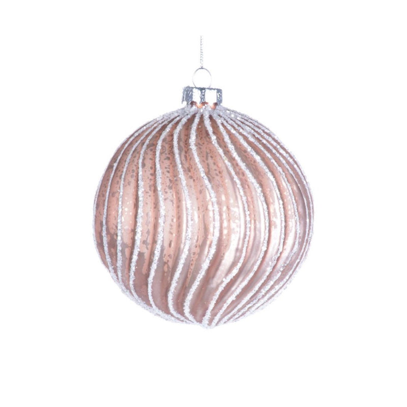 Rose Gold Curvy Ribbed Glass Ball -  Christmas Decorations - Christmas Tradition - Putti Fine Furnishings Toronto Canada