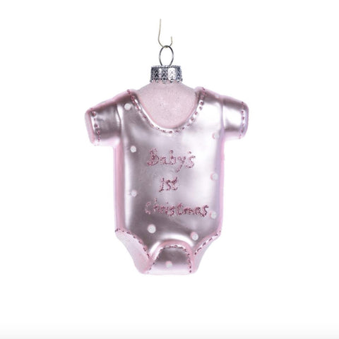 """Baby's First Christmas"" Onesie Glass Ornament - Pink -  Christmas - CT-Christmas Traditions - Putti Fine Furnishings Toronto Canada"
