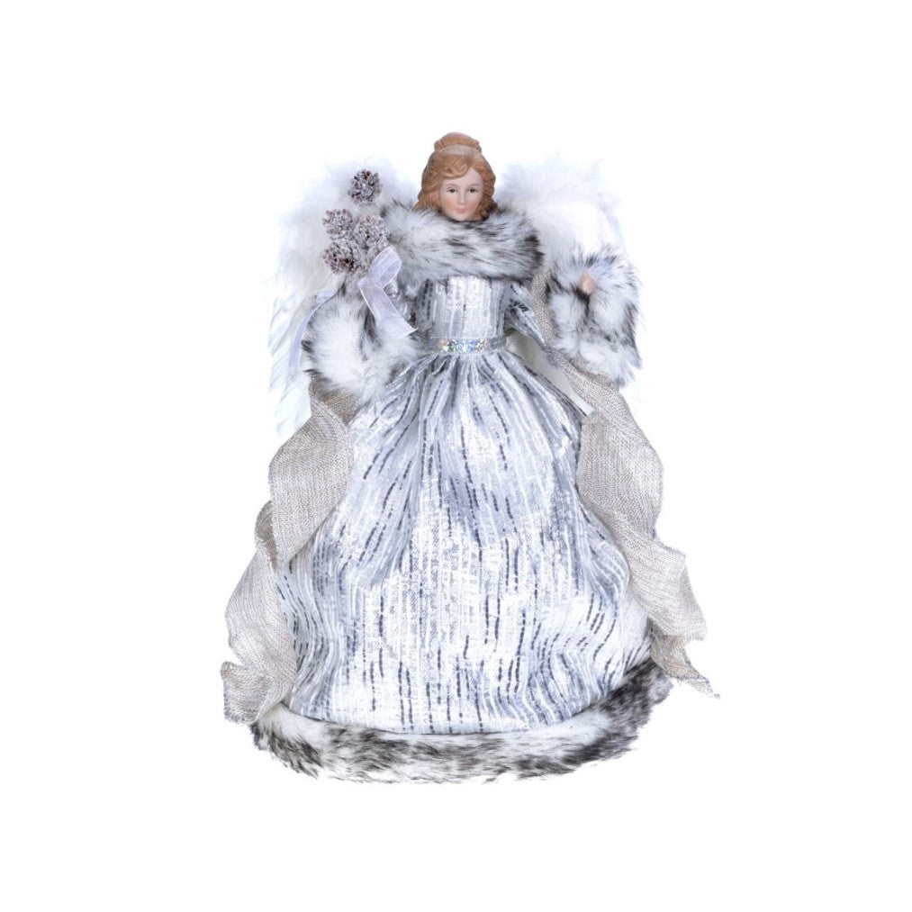Silver Grey Angel with Fur Trim -  Christmas - CT-Christmas Traditions - Putti Fine Furnishings Toronto Canada