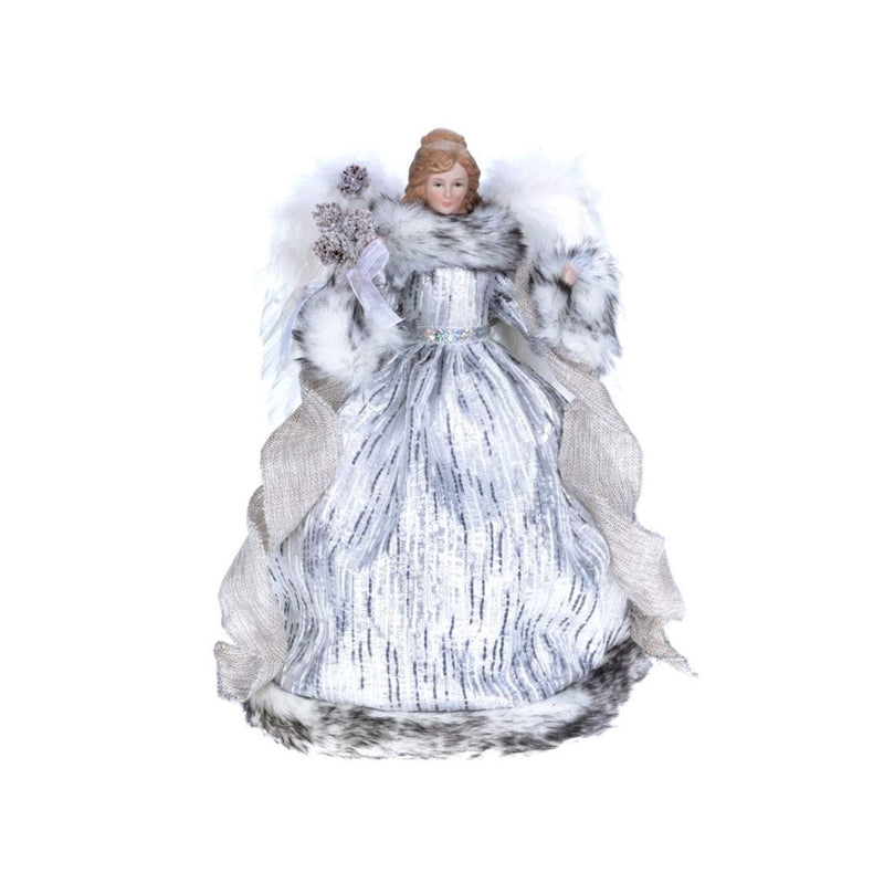 Silver Grey Angel with Fur Trim Christmas Tree Topper | Putti Fine Furnishings Toronto Canada