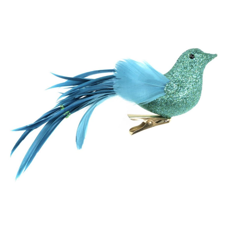 Aqua Blue Glitter and Feather Bird with Clip -  Christmas - CT-Christmas Traditions - Putti Fine Furnishings Toronto Canada